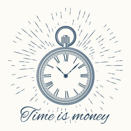 winder: clock and vintage sun burst frame.Time is money