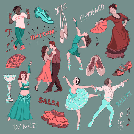 customs and habits: Colored Hand drawn Dance collection, excellent vector illustration, EPS 10
