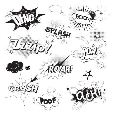 snap: Comic black speech bubbles in pop art style with boom snap words vector illustration Illustration