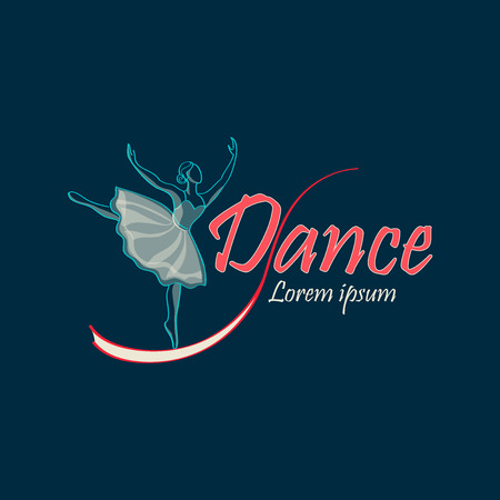 love silhouette: Dancing Logo of classical ballet, figure ballet dancer