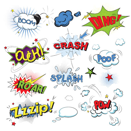 snap: Comic colored speech bubbles in pop art style with boom snap words vector illustration Illustration