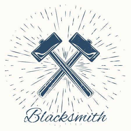 cast iron: hammer and vintage sun burst frame. Blacksmith emblem Illustration