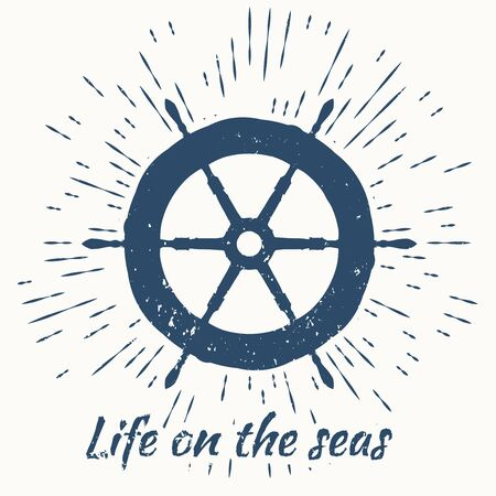 water logo: helm and vintage sun burst frame. life on the seas