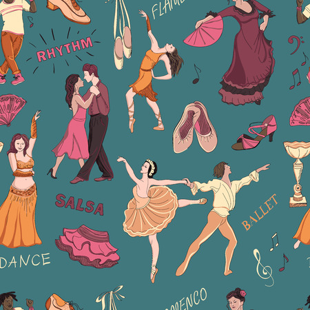 merry dancers: Seamless pattern of the dancing, excellent vector illustration, EPS 10
