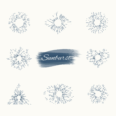 set vintage sun burst frames and design elements. Collection of Sun ray frames vector design elements