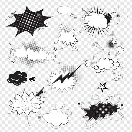 pop: Blank text comic black speech bubbles in pop art style