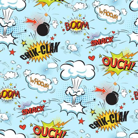 nubes caricatura: Burbujas cómicas del discurso en el estilo del arte pop con la historieta de la bomba y el texto explosión patrón sin fisuras ilustración vectorial Vectores