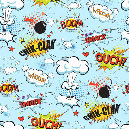 bomb: Comic speech bubbles in pop art style with bomb cartoon and explosion text seamless pattern vector illustration