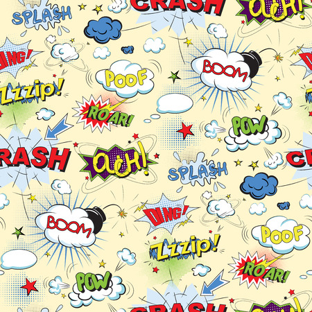 bomb explosion: Comic speech bubbles in pop art style with bomb cartoon and explosion text seamless pattern vector illustration
