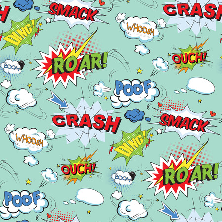 vintage design: Comic speech bubbles in pop art style with bomb cartoon and explosion text seamless pattern vector illustration