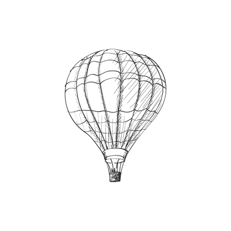 doodle hot air balloon isolated on white background