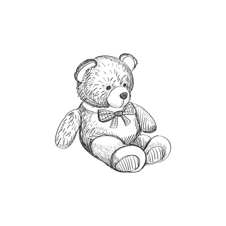 Doodle Teddy bear isolated on white background