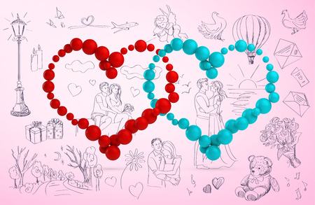 두 마음과 손으로 그린 사랑 이야기입니다. 발렌타인 데이 카드 스톡 콘텐츠 - 43805698