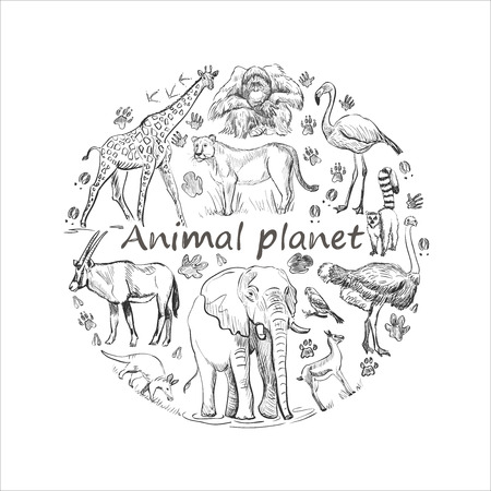 animals together: Hand drawn save animals emblem, animal planet, animals world. Cute animals in a circle shape