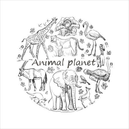 Hand plockade spara djur emblem, djur planet, djur värld. Söta djur i en cirkel form Illustration