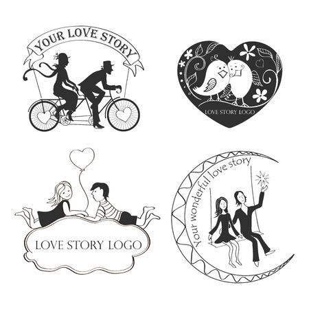 carta de amor: Amor Logo Símbolo historia para su diseño Vectores