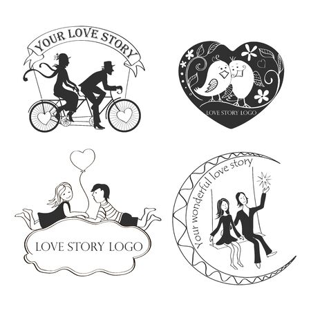happy couple: Love story Logo Symbol For Your Design