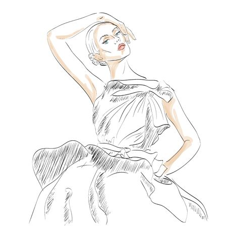 women body: Model fashion. Sketch, excellent vector illustration