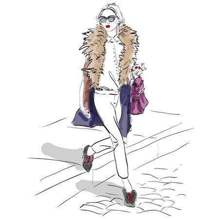 moda ropa: Modelo de modas. Bosquejo, ejemplo excelente vector Vectores