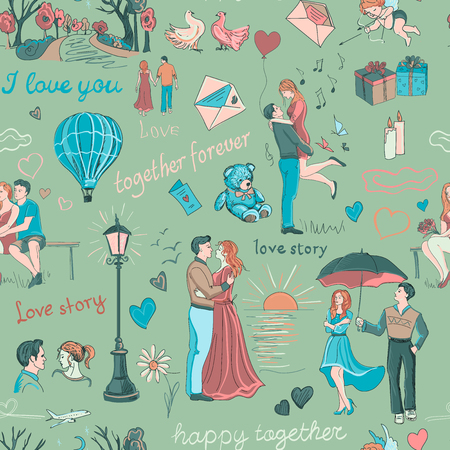 Seamless pattern with love story elements Banco de Imagens - 43805975
