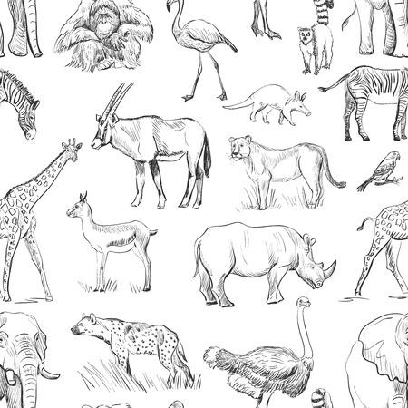 cute elephant: Seamless animal planet pattern Illustration