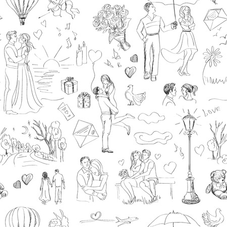 love kiss: Seamless pattern with love story elements