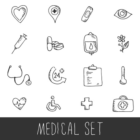 reanimation: Sketch Medical Icon Set. Hand drawn sketch illustration isolated on white background Illustration