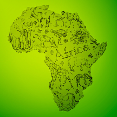 The African continent is filled with doodle animals Illustration