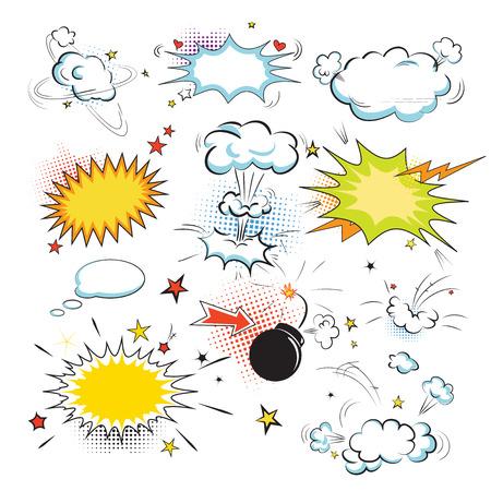 historietas: Blank discurso de colores comic burbujas de texto en el estilo del arte pop. Elementos de diseño de libros de historietas. Ilustración vectorial Vectores