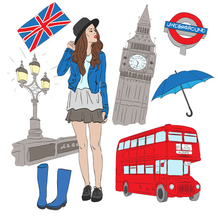 houses of parliament   london: Girl and vector elements of London such as Big Ben, bus, umbrella, street light, boots, flag