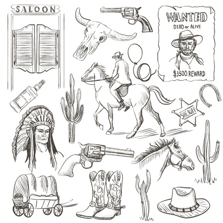 Hand drawn Wild West Collection with revolvers, skull, injun, cowboy, van, horse, cactus, hat, horseshoe, lasso, sheriff, shoes, horseman