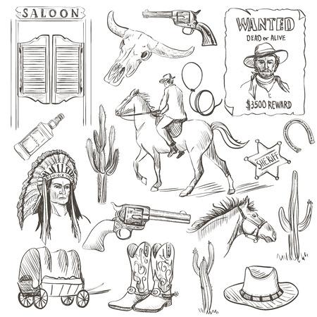 Hand drawn Wild West Collection with revolvers, skull, injun, cowboy, van, horse, cactus, hat, horseshoe, lasso, sheriff, shoes, horseman