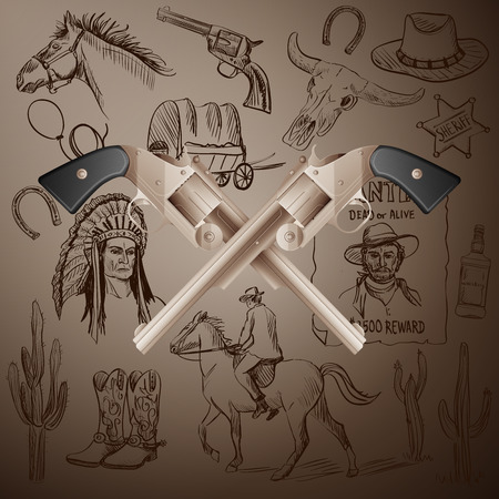 cactus cartoon: Hand drawn Wild West Collection with Crossed Revolvers and skull. Injun, cowboy, van, horse, cactus, hat, horseshoe, lasso, sheriff, horseman Illustration
