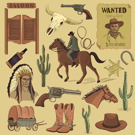 uomo a cavallo: Disegnate a mano Wild West Set di icone con revolver, cranio, Injun, cowboy, van, cavallo, cactus, cappello, ferro di cavallo, lazo, sceriffo, scarpe, cavaliere Vettoriali