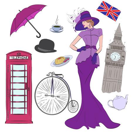 cabina telefono: Señora y vectoriales elementos de Londres, como el Big Ben, pasteles, paraguas, bandera, sombrero, café, cabina de teléfono