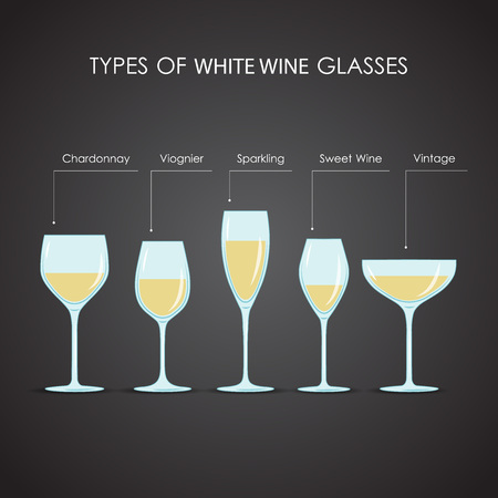 types of glasses: types of white wine glasses, excellent vector illustration, EPS 10