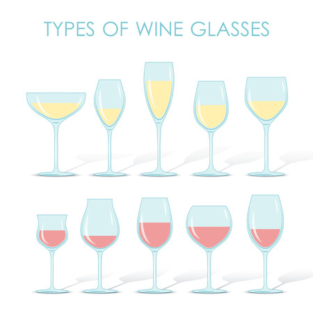 types of glasses: Set of types of wine and glasses red white sparkling and dessert wine