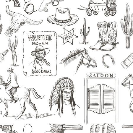 uomo a cavallo: Mano Wild West disegnato seamless con revolver, cranio, Injun, cowboy, van, cavallo, cactus, cappello, ferro di cavallo, lazo, sceriffo, scarpe, stella, cavaliere, salone