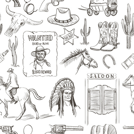 hand cartoon: Wild West hand drawn seamless pattern with revolvers, skull, injun, cowboy, van, horse, cactus, hat, horseshoe, lasso, sheriff, shoes, star, horseman, saloon