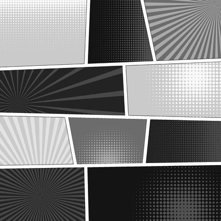 Comics popart stijl lege layout template achtergrond vector illustratie