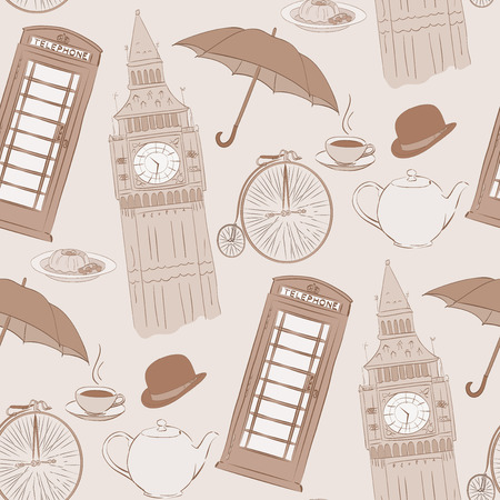 great coffee: Retro Vector hand drawn London pattern with hand drawn elements, such as red phone booth, Big Ben clock, flag of Great Britain, cup of coffee, hat, clock, umbrella