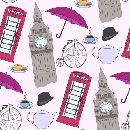 great coffee: Vector hand drawn London pattern with red phone booth, Big Ben clock, flag of Great Britain, cup of coffee, hat, clock, umbrella