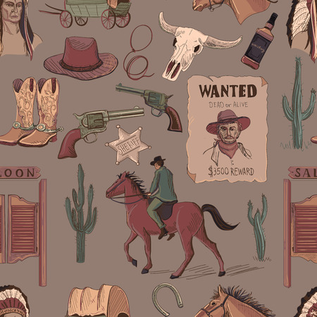 cowboy cartoon: Wild West colored hand drawn pattern with Injun, kofboy, van, horse, cactus, hat, horseshoe, lasso, sheriff.