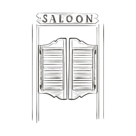 Viejas puertas del salón de balanceo occidentales. Doodle estilo
