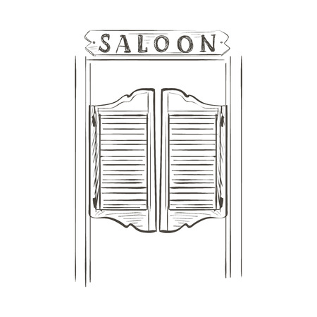 puertas de madera: Viejas puertas del salón de balanceo occidentales. Doodle estilo Vectores