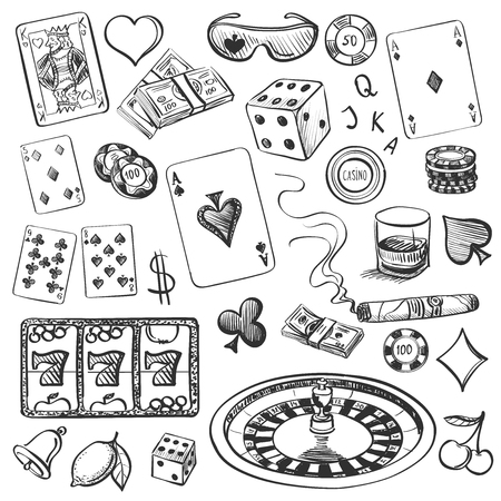 cards poker: Hand drawn Casino Collection illustration with roulette, cards, cigar, whisky, casino chip, jack pot, dice, money