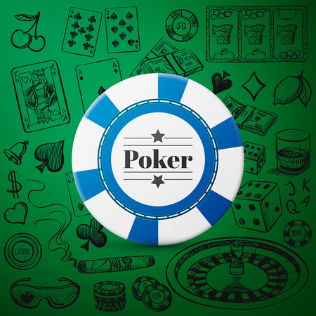 whisky: Hand drawn Casino Collection such as roulette, cards, cigar, whisky with single blue casino chip Illustration