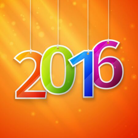 happy new year text: Happy New Year card. Paper 2016 Text Design