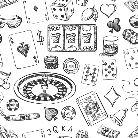 Seamless casino hand drawn pattern with roulette, cards, cigar, whisky, casino chip, jack pot, dice, money
