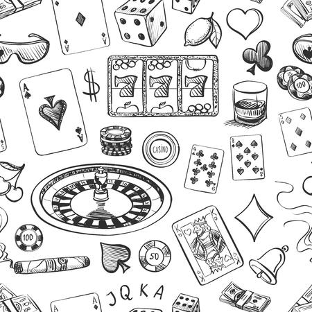 roulette: Senza soluzione di continuità casinò mano modello disegnato con roulette, carte, sigari, whisky, casinò chip, jack pot, dadi, soldi